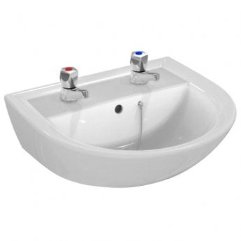 Armitage Shanks Sandringham 21 Basin & Full Pedestal 500mm Wide 2 Tap Hole
