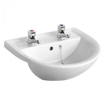 Armitage Shanks Sandringham 21 Semi-Recessed Basin 500mm Wide with Chain Hole - 2 Tap Hole