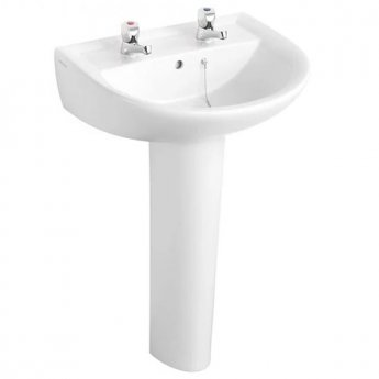 Armitage Shanks Sandringham 21 Boxed Basin & Pedestal Pack 550mm inc Pillar Taps