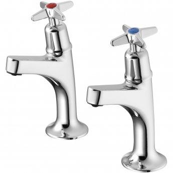 Armitage Shanks Sandringham 21 Kitchen Sink High Neck Pillar Taps with Crossheads - Chrome