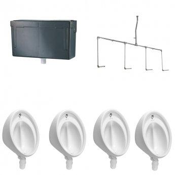 Armitage Shanks Sanura Hygeniq 4 Urinal Pack with Concealed Auto Cistern