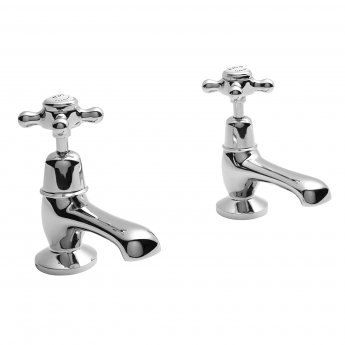 Bayswater Crosshead Dome Basin Taps Pair White/Chrome