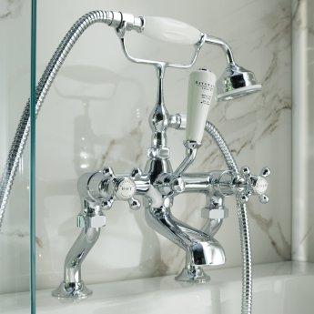 Bayswater Crosshead Dome Pillar Mounted Bath Shower Mixer Tap White/Chrome