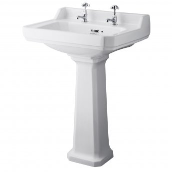 Bayswater Fitzroy Basin with Full Pedestal 595mm Wide 2 Tap Hole