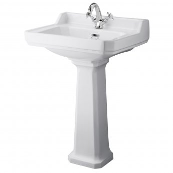 Bayswater Fitzroy Basin with Full Pedestal 595mm Wide 1 Tap Hole