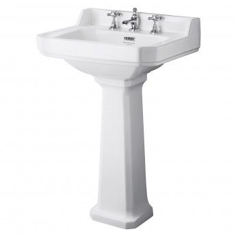 Bayswater Fitzroy Basin with Large Full Pedestal 560mm Wide 3 Tap Hole