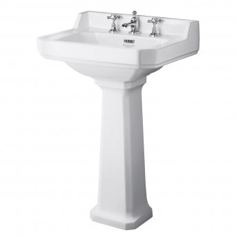 Bayswater Fitzroy Basin with Large Full Pedestal 595mm Wide 3 Tap Hole