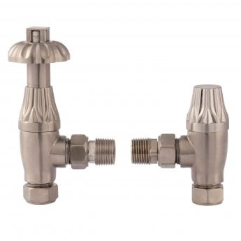 Bayswater Fluted Angled Thermostatic Radiator Valves Pair and Lockshield Satin Nickel