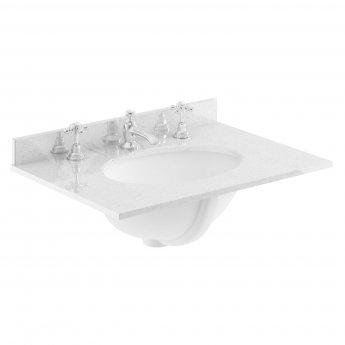 Bayswater Grey Marble Top Furniture Basin 600mm Wide 3 Tap Hole