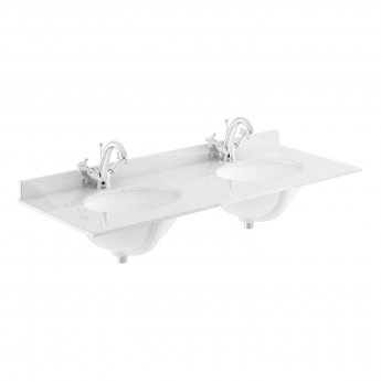 Bayswater Grey Marble Top Furniture Double Basin 1200mm Wide 1 Tap Hole