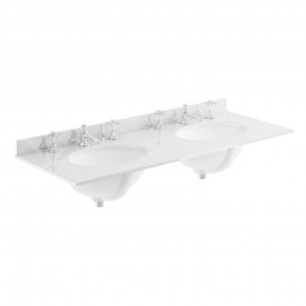 Bayswater Grey Marble Top Furniture Double Basin 1200mm Wide 3 Tap Hole