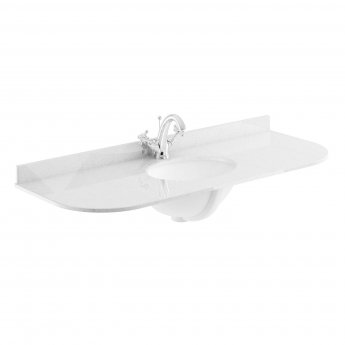 Bayswater Grey Marble Top Curved Furniture Basin 1200mm Wide 1 Tap Hole