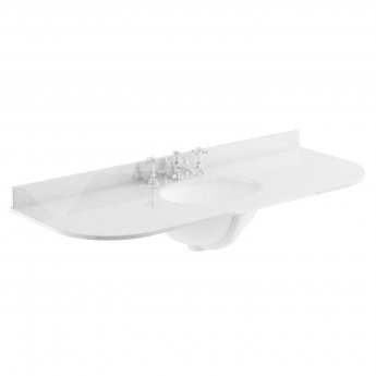 Bayswater Grey Marble Top Curved Furniture Basin 1200mm Wide 3 Tap Hole