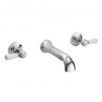 Bayswater Lever Dome 3-Hole Wall Mounted Bath Filler Tap White/Chrome