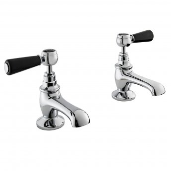 Bayswater Lever Dome Basin Taps Pair Black/Chrome