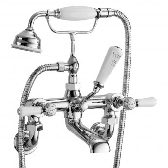 Bayswater Lever Hex Wall Mounted Bath Shower Mixer Tap White/Chrome