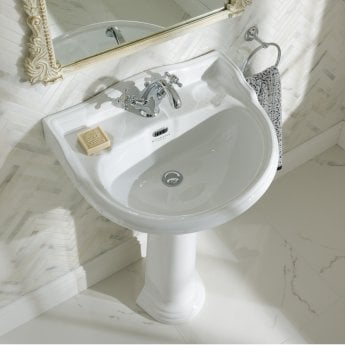 Bayswater Porchester Basin with Full Pedestal 600mm Wide 1 Tap Hole
