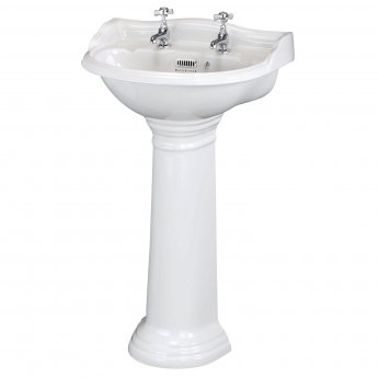 Bayswater Porchester Basin with Full Pedestal 500mm Wide 2 Tap Hole