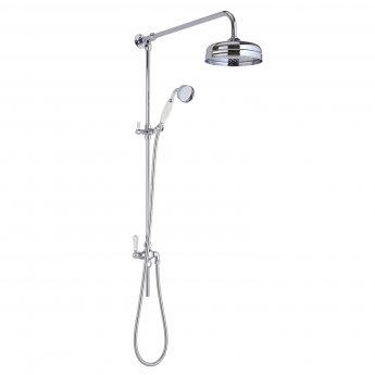 Bayswater Grand Rigid Riser Shower Kit with Fixed Head and Handset White/Chrome
