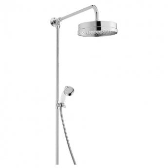 Bayswater Luxury Rigid Riser Shower Kit with Large Fixed Head and Handset Chrome