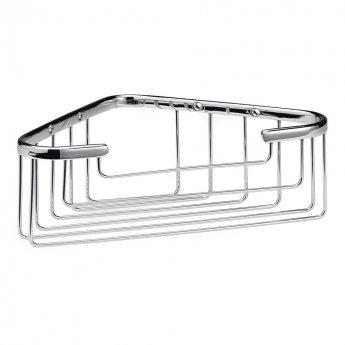 Bayswater Traditional Deep Wirework Corner Shower Basket Chrome
