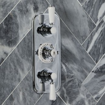 Bayswater Traditional Triple Concealed Shower Valve with Diverter White/Chrome