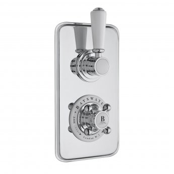 Bayswater Traditional Dual Concealed Shower Valve with Diverter White/Chrome