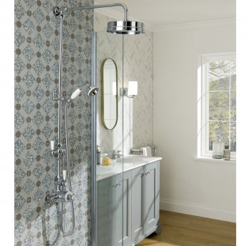 Bayswater Traditional Dual Exposed Shower Valve White/Chrome