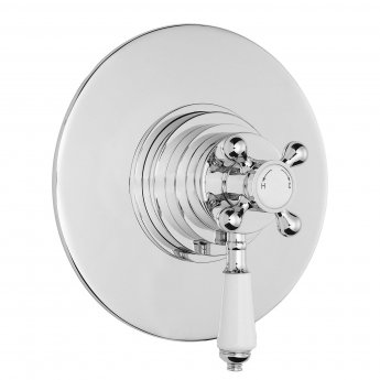 Bayswater Traditional Dual Concealed Concentric Shower Valve White/Chrome