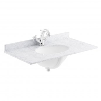 Bayswater White Marble Top Furniture Basin 600mm Wide 1 Tap Hole