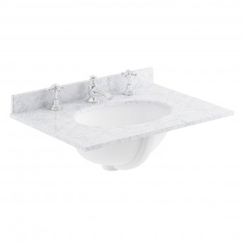 Bayswater White Marble Top Furniture Basin 600mm Wide 3 Tap Hole