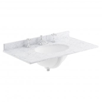 Bayswater White Marble Top Furniture Basin 800mm Wide 3 Tap Hole