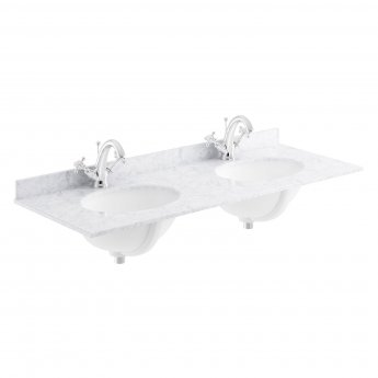 Bayswater White Marble Top Furniture Double Basin 1200mm Wide 1 Tap Hole