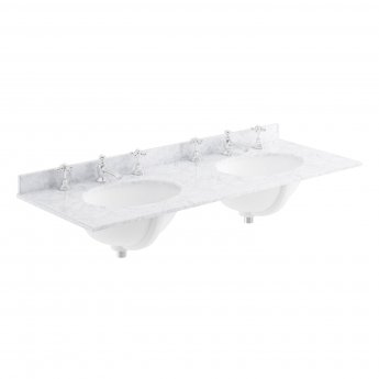Bayswater White Marble Top Furniture Double Basin 1200mm Wide 3 Tap Hole