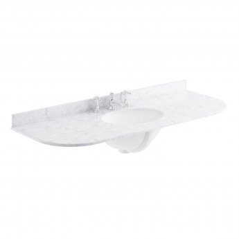 Bayswater White Marble Top Curved Furniture Basin 1200mm Wide 3 Tap Hole