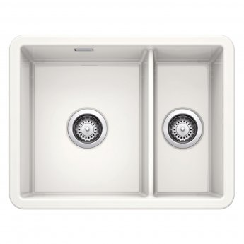 Blanco Villae 1.5 Bowl and Half Undermount Kitchen Sink with Waste 595mm L x 460mm - Crystal White Gloss