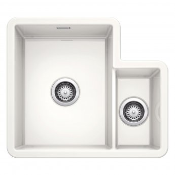 Blanco Villae 1.5 Bowl and Third Undermount Kitchen Sink with Waste 595mm L x 520mm - Crystal White Gloss