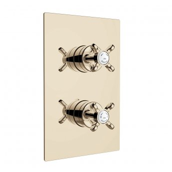 Bristan 1901 Thermostatic Recessed Dual Control Shower Valve with Two Outlet Diverter - Gold