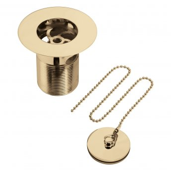 Bristan Luxury Kitchen Sink Waste with Plug and Chain Gold - Slotted
