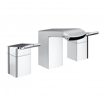 Bristan Descent 3-Hole Basin Mixer Tap Deck Mounted with Clicker Waste - Chrome
