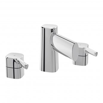 Bristan Flute 3-Hole Basin Mixer Tap Deck Mounted with Clicker Waste - Chrome