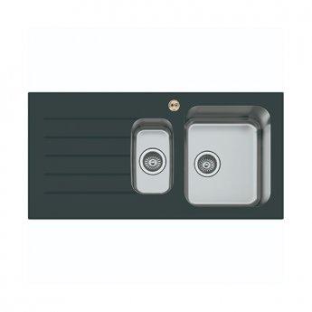 Bristan Gallery Glacier Easyfit 1.5 Bowl Kitchen Sink LH Drainer 1000mm L x 500mm W - Black Glass