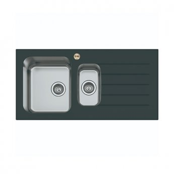 Bristan Gallery Glacier Easyfit 1.5 Bowl Kitchen Sink RH Drainer 1000mm L x 500mm W - Black Glass