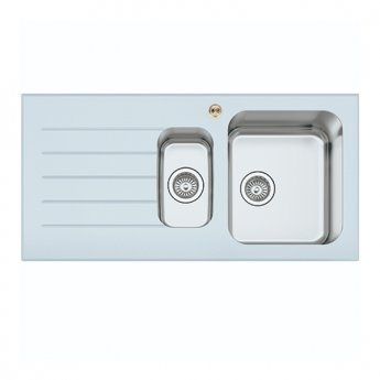 Bristan Gallery Glacier Easyfit 1.5 Bowl Kitchen Sink LH Drainer 1000mm L x 500mm W - White Glass