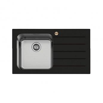 Bristan Gallery Glacier Easyfit 1.0 Bowl Kitchen Sink RH Drainer 860mm L x 500mm W - Black Glass