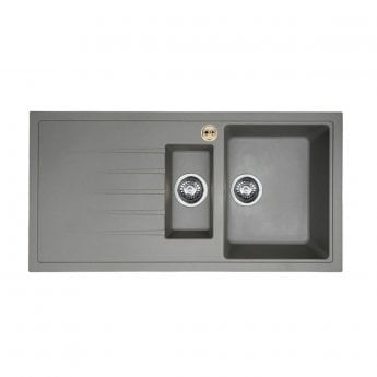 Bristan Gallery Quartz Easyfit 1.5 Bowl Kitchen Sink LH Drainer 1000mm L x 500mm W - Dawn Grey