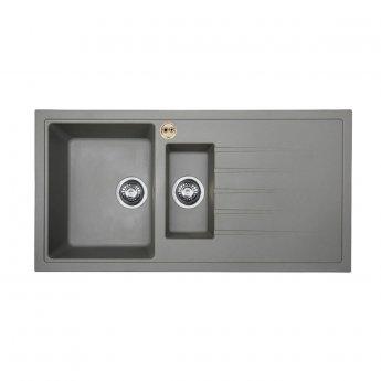 Bristan Gallery Quartz Easyfit 1.5 Bowl Kitchen Sink RH Drainer 1000mm L x 500mm W - Dawn Grey