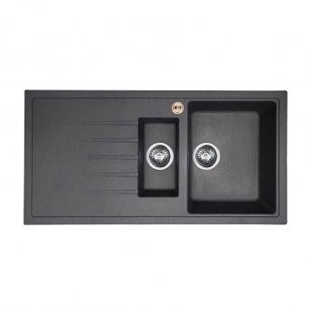 Bristan Gallery Quartz Easyfit 1.5 Bowl Kitchen Sink LH Drainer 1000mm L x 500mm W - Midnight Grey