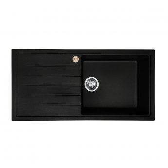 Bristan Gallery Quartz Easyfit 1.0 Bowl Kitchen Sink LH Drainer 1000mm L x 500mm W - Black