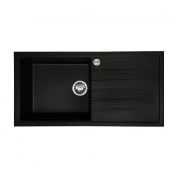 Bristan Gallery Quartz Easyfit 1.0 Bowl Kitchen Sink RH Drainer 1000mm L x 500mm W - Black